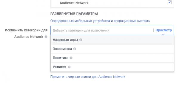 Развернутые параметры кампании Facebook