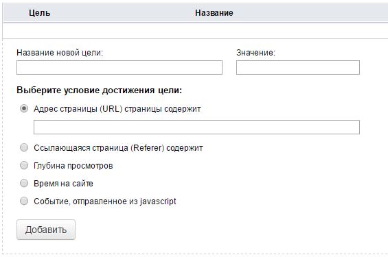 Добавление целей Mail.ru