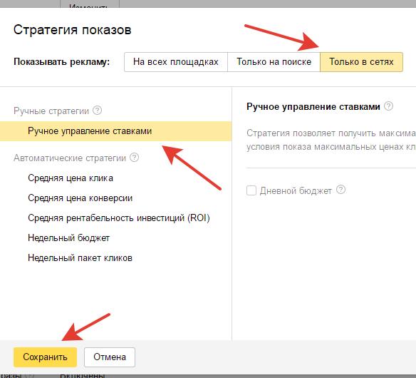 Управления показами сети Яндекс