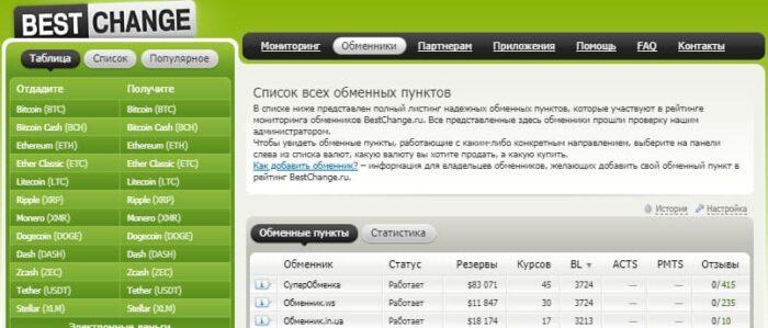 Интерфейс онлайн обменника